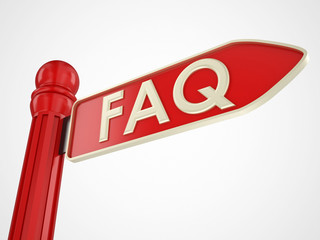 faq red directional sign