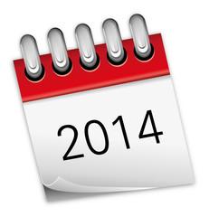 Kalender rot Jahr 2014