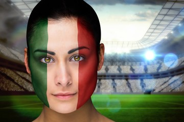 Composite image of beautiful italy fan in face paint