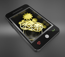 smart phone and gold gears