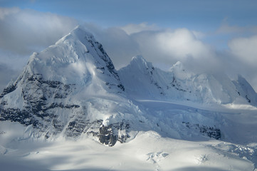 The mountainous landscape of Antarctica.