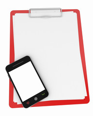 note pad and blank screen mobile phone