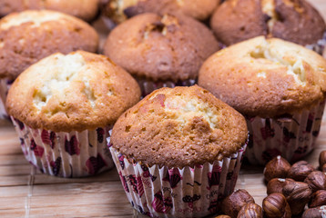 home made muffins with hazelnuts