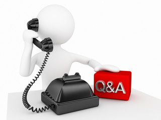 3d character speaking with telephone q&a concept