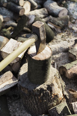 A woodpile, a stack of logs and an axe wedged in a log.