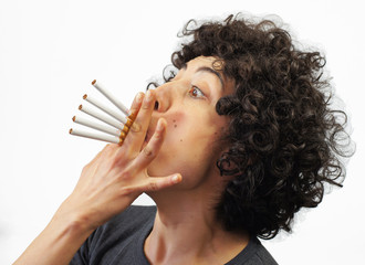 Woman smokes 5 cigarettes