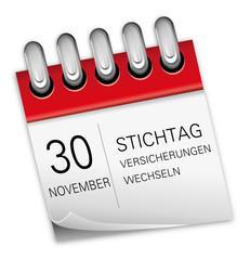 Kalender rot 30 November KFZ-Versicherungen Auto wechseln