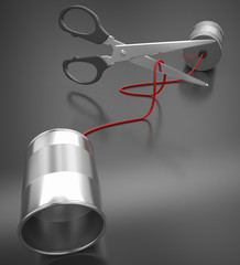 tin can phone cable cutting cable with scissor