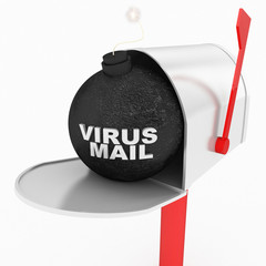 internet or virus mail concept