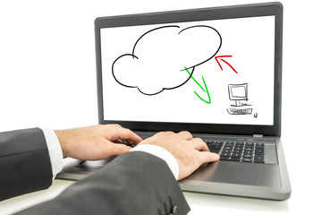 Screen displaying the cloud computing concept