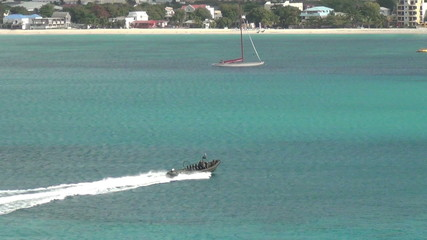 Military boat on patrol near Caribbean island