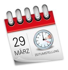 Kalender rot 29 März Zeitumstellung Uhr Sommerzeit