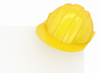 construction hard yellow helmet paper corner
