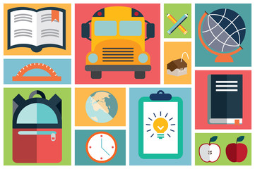 Collection of flat school icons, vector illustration