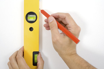 Vertically leveling / Measurement of a spirit level.