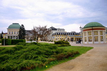 Spa of Franzensbad with parks and spa houses in the spring