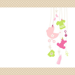 Baby Card Hanging Symbols Girl Dots