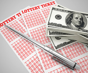 lottery ticket and money concept
