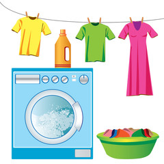 Washing machine & laundry vector
