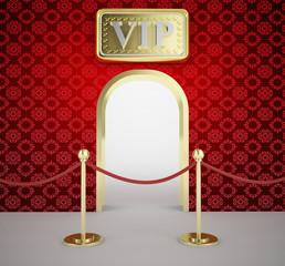 Velvet rope barrier golden door entrance