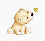 Cute Teddy bear and butterfly - 64413221