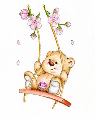 Teddy bear swinging on swing