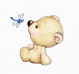 Cute Teddy bear and dragonfly