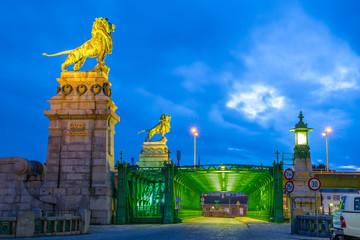Schemerlbrücke zur blauen Stunde, Wien, Österreich