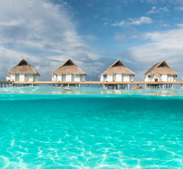 Maldives water bungalow and half water photography