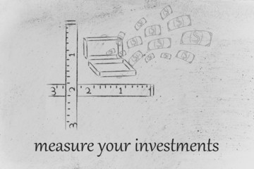 measure your success, suitcase with money explosion with rulers
