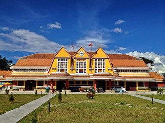 Historical French Colonial Yellow Train Station in Da Lat