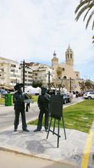 Esculturas de Santiago Rusiñol y Ramón Casas, Sitges, Barcelona