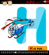 letter h helicopter hat cartoon illustration