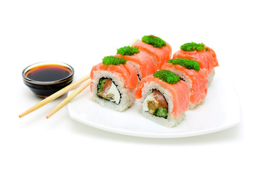 Japanese sushi on a plate on white background