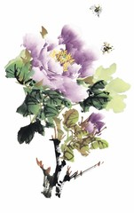 꽃 수묵화