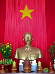 Ho Chi Minh Statue in Worship Temple, Central Highlands, Vietnam
