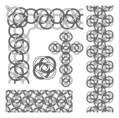 Celtic knot pattern elements set