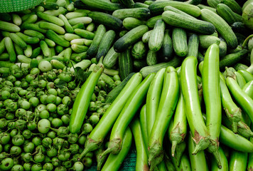 Fresh Green Vegetables in markets
