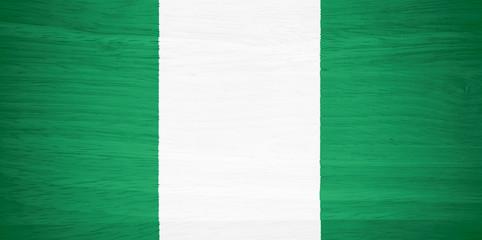 Nigeria flag on wood texture