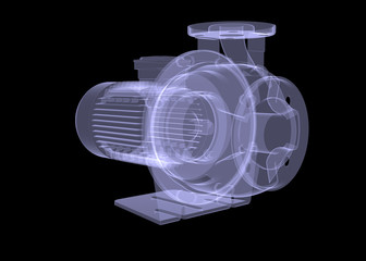 Water pump motor. X-ray render