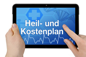 Tablet mit Interface und Heil- und Kostenplan