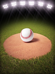 3d rendering of a Baseball on a pitchers mound