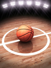 3d rendering of a basketball on a court
