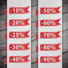 Set of discount percent illustration