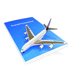 Travel Insurance concept with Jet aircraft on  white