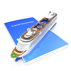 Travel Insurance concept with cruise ship on a white background.