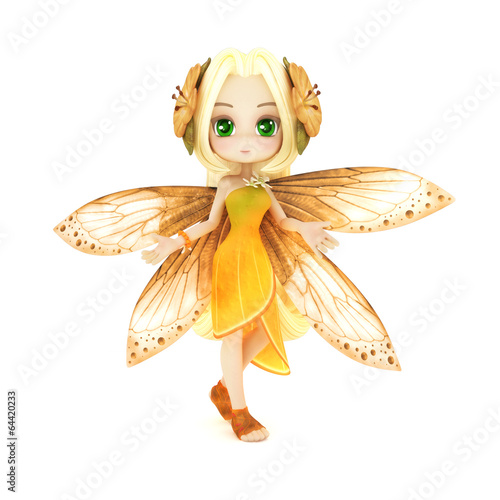 Cute toon fairy posing on a white background - 64420233