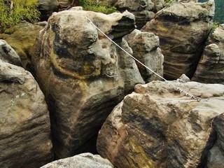 Easy via ferrata in rocks of Saxony Switzerland. Iron rope.