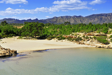 Cala Forn beach in Ametlla de Mar, Spain