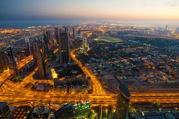 Downtown of Dubai (UAE) in the morning. View from Burj Khalifa